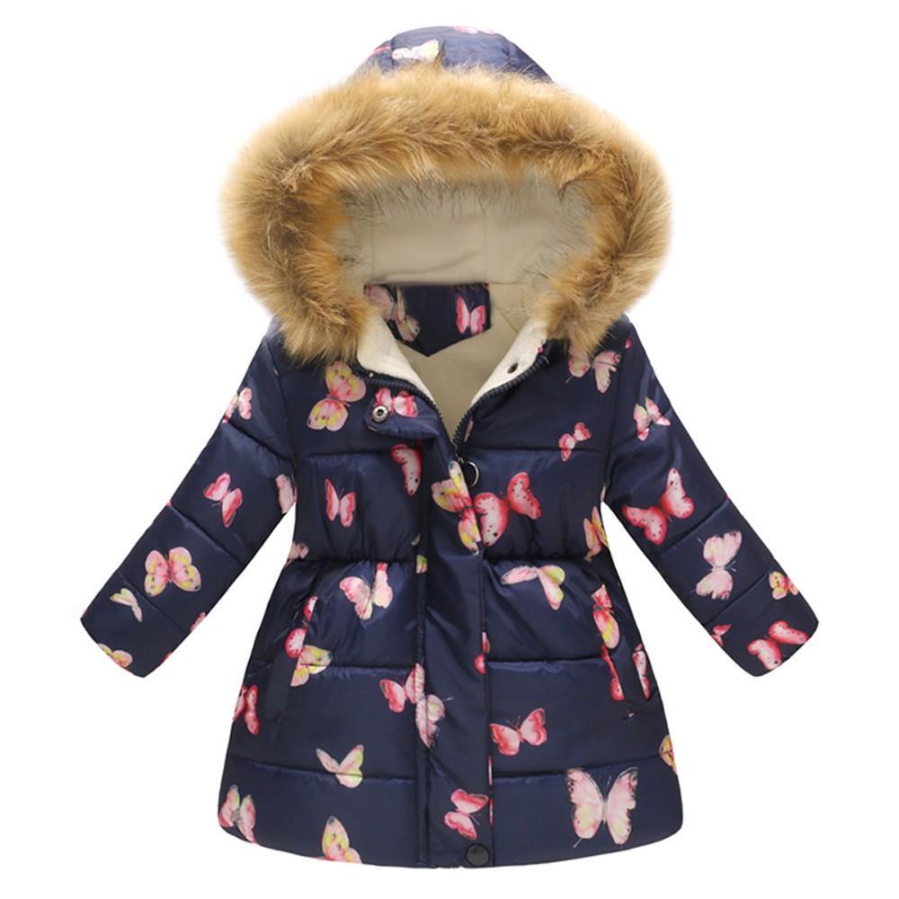الأطفال طفل بنات الطفل الستر القطن فتاة الشتاء زهرة طباعة الدافئة سترة مقنع صامد للريح معطف أزياء 2018 # FI3