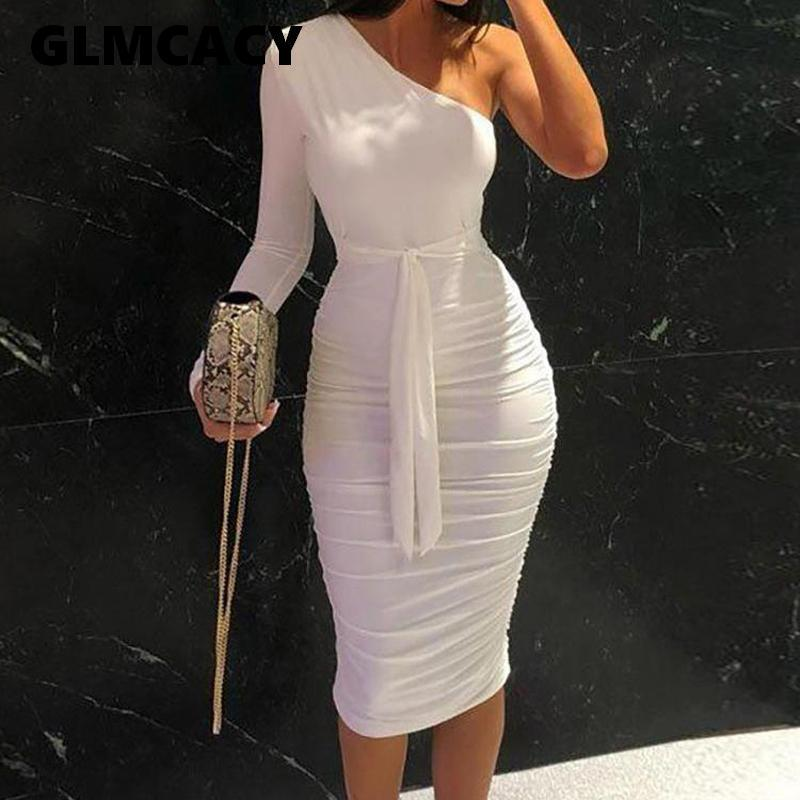 Women Elegant Fashion Sexy White Cocktail Party Slim Fit Dresses One Shoulder Belted Ruched Design Bodycon Midi Dress Y200623
