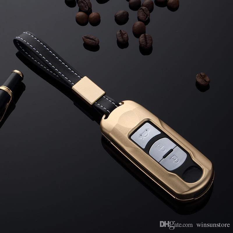 Gift High Quality Car Aluminium Alloy Key Holder Cover Case Chain For Mazda CX-5 CX-9 Axela Mazda 6 Atenza 2/3 Button Smart Key