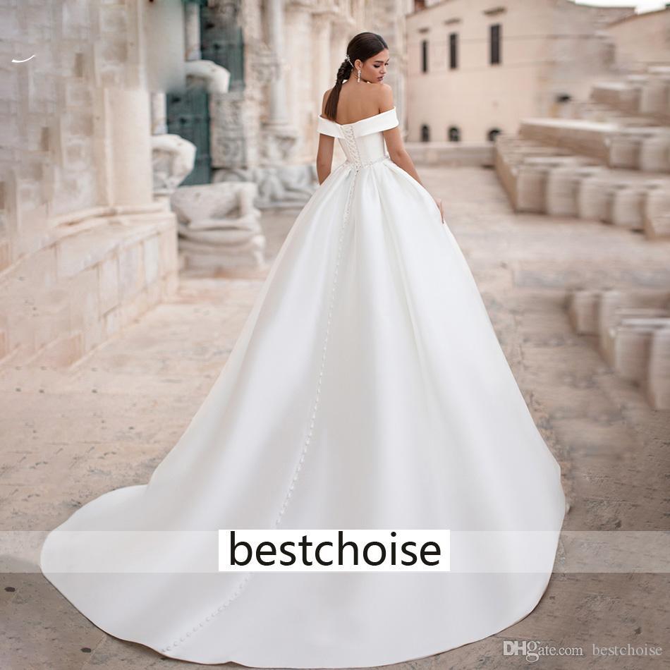 Großhandel Reizvoller Schatz Weicher Satin Brautkleider 20 Cap Sleeve  Lace Up Französisch Braut Kleid Einfache Prinzessin Brautkleider Von