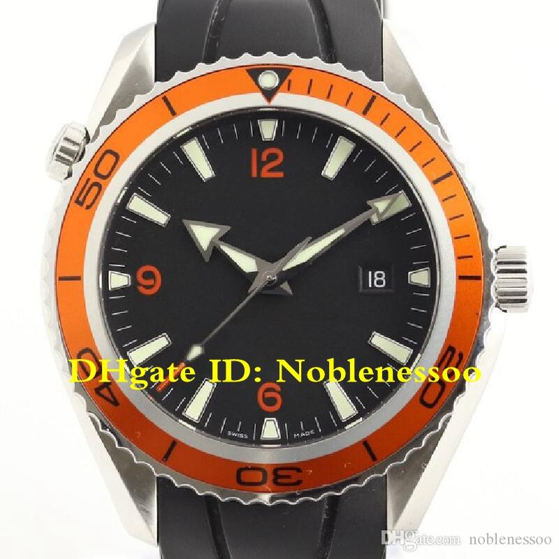 5 Style Top Luxury Mens Watch luxury Men's Black Dial 2209.50 Orange Bezel Automatic Planet Ocean Co-Axial 600M Divers Rubber Bands Watches