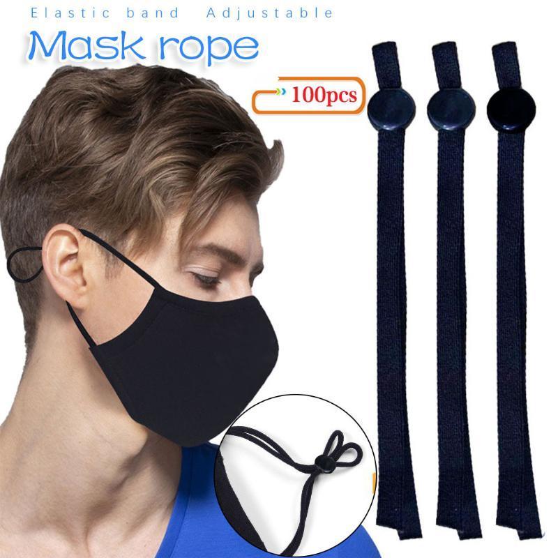 Maschera fai da te Elastic Band Ear corda Knitting Band con Button regolabile cucito 100pcs maschera ausiliario materiale orecchio fibbia corda manicotto