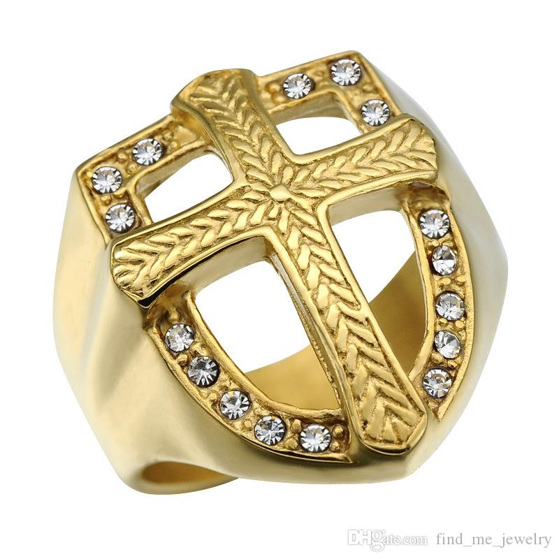 Men Hip Hop Shield Shape Wide Ring Geometric Stainless Steel Vintage Cross Rhinestone Ring Fashion Gold Plated Jewelry Accessories Wholesale