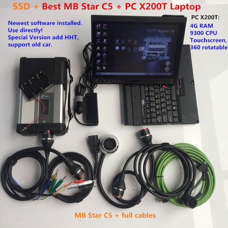 MB Star C5 SD Connect C5 أداة تشخيصية مع إصدار Soft-Ware 2021.03V DTS موناكو X DSA Vediamo WIS في Laptop X200T TouchScreen