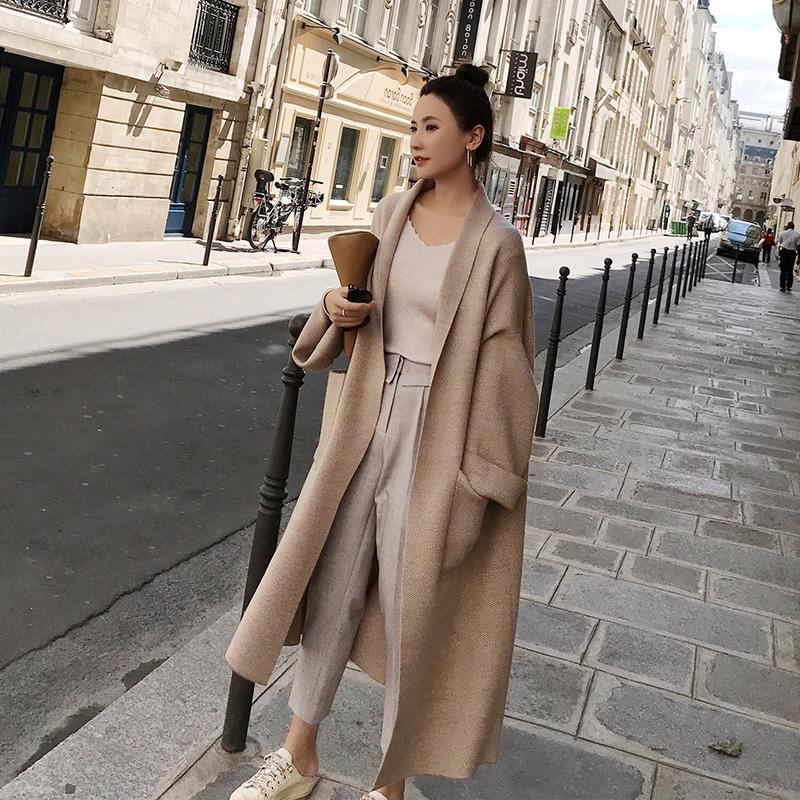Kadınlar CJ1191109 Kış Şık Palto Gevşek örgü Hırka Yün Triko Büyük Boy Ekstra Yumuşak High-end Hırka Örgü Coat