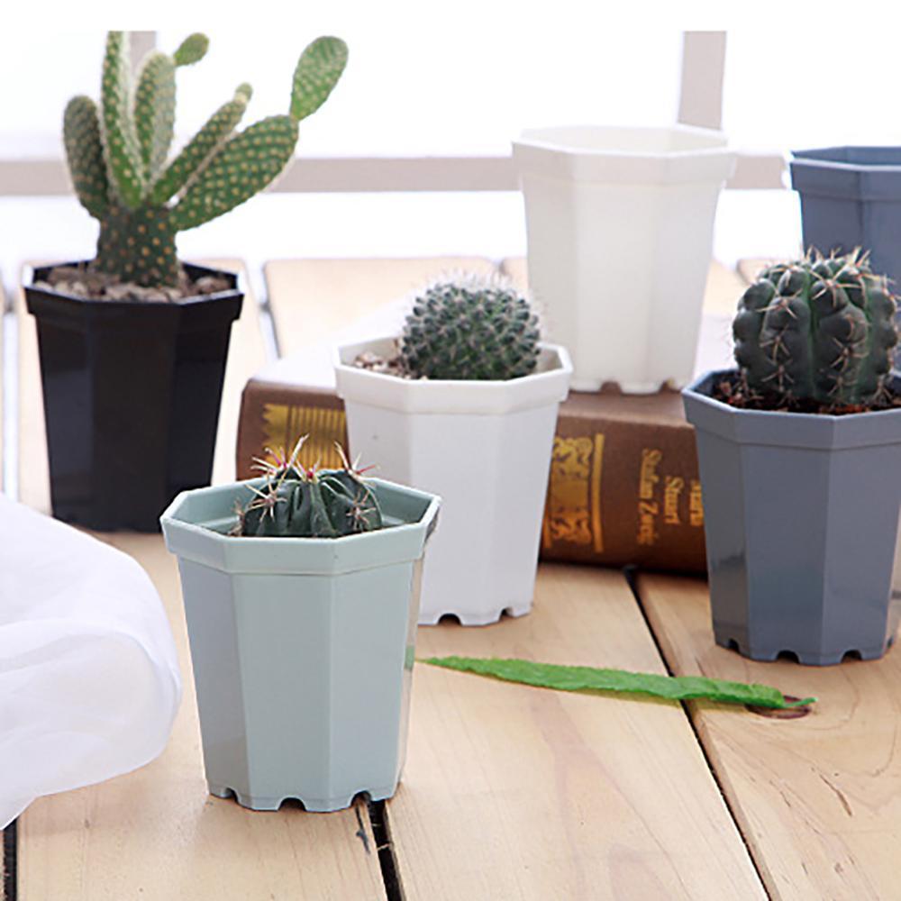 2019 4 Pieces Modern Plastic Octagon Flower Pot Home Garden Office Desk Succulent Plant Pot Matt Glossy Garden Decoration Pots