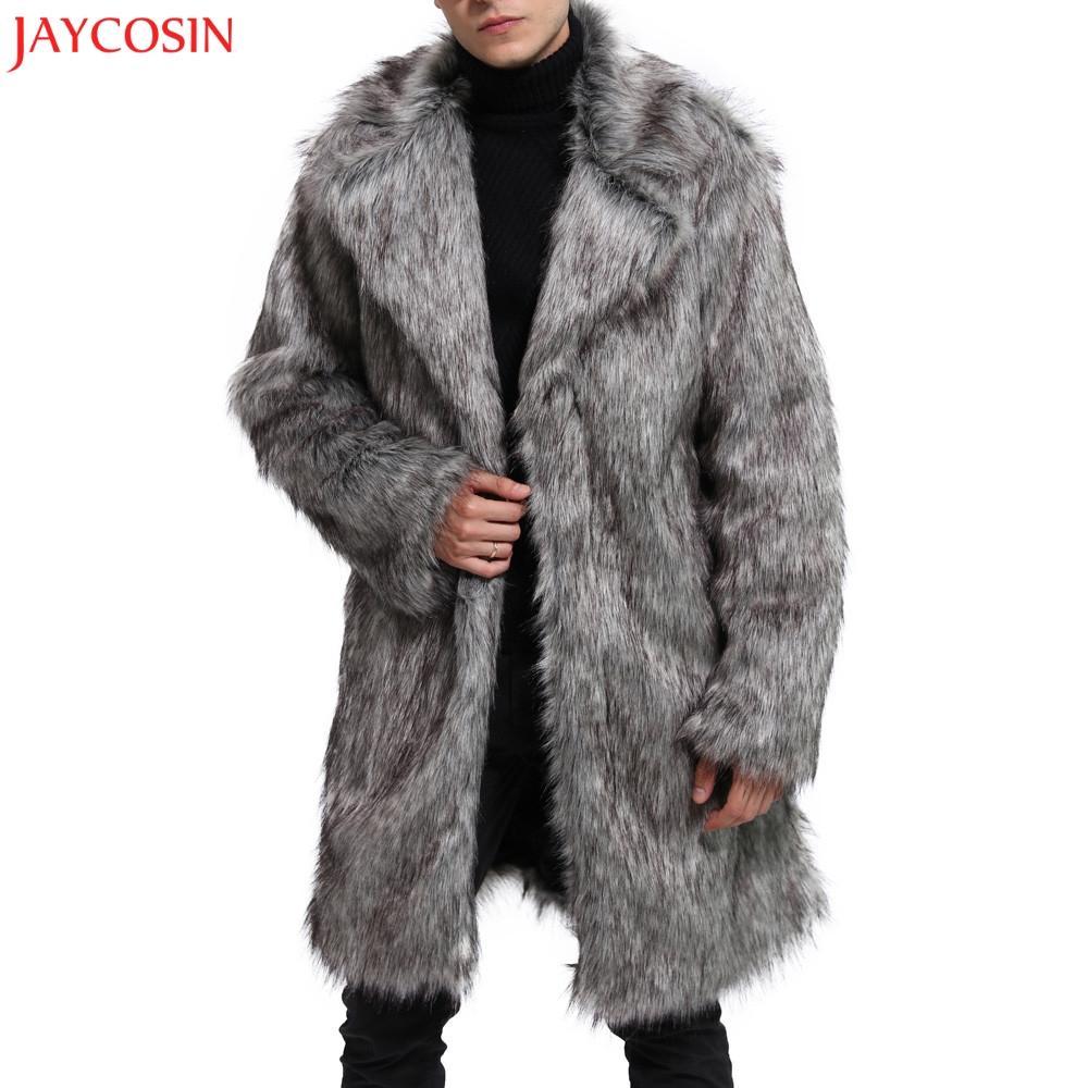 JAYCOSIN 1PC Mens 패션 코트 M-2XL 겨울 따뜻한 두꺼운 코트 Overout 재킷 가짜 모피 파커 두꺼운 Outwear 그레이 카디건 z1122