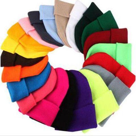 Kinder Strickmütze Solid Color Strickmützen Süßigkeit-Farben-Mädchen-Jungen-Winter-warme Kappen Außen Beanie Mädchen Caps WY104Q-2