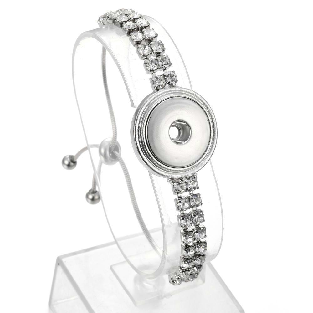 Satışa toptan noosa chunk takı değiştirilebilir yapış bilezikler kristal gümüş zincir 18mm snap düğmesi bilezik bilezik