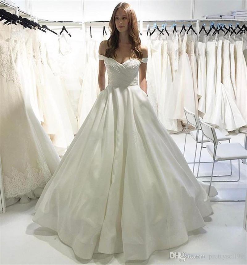Пользовательские плеча Короткие рукава Свадебные платья 2020 с Карманы Arabic Sweep Поезд атласная A Line Свадебные Платья