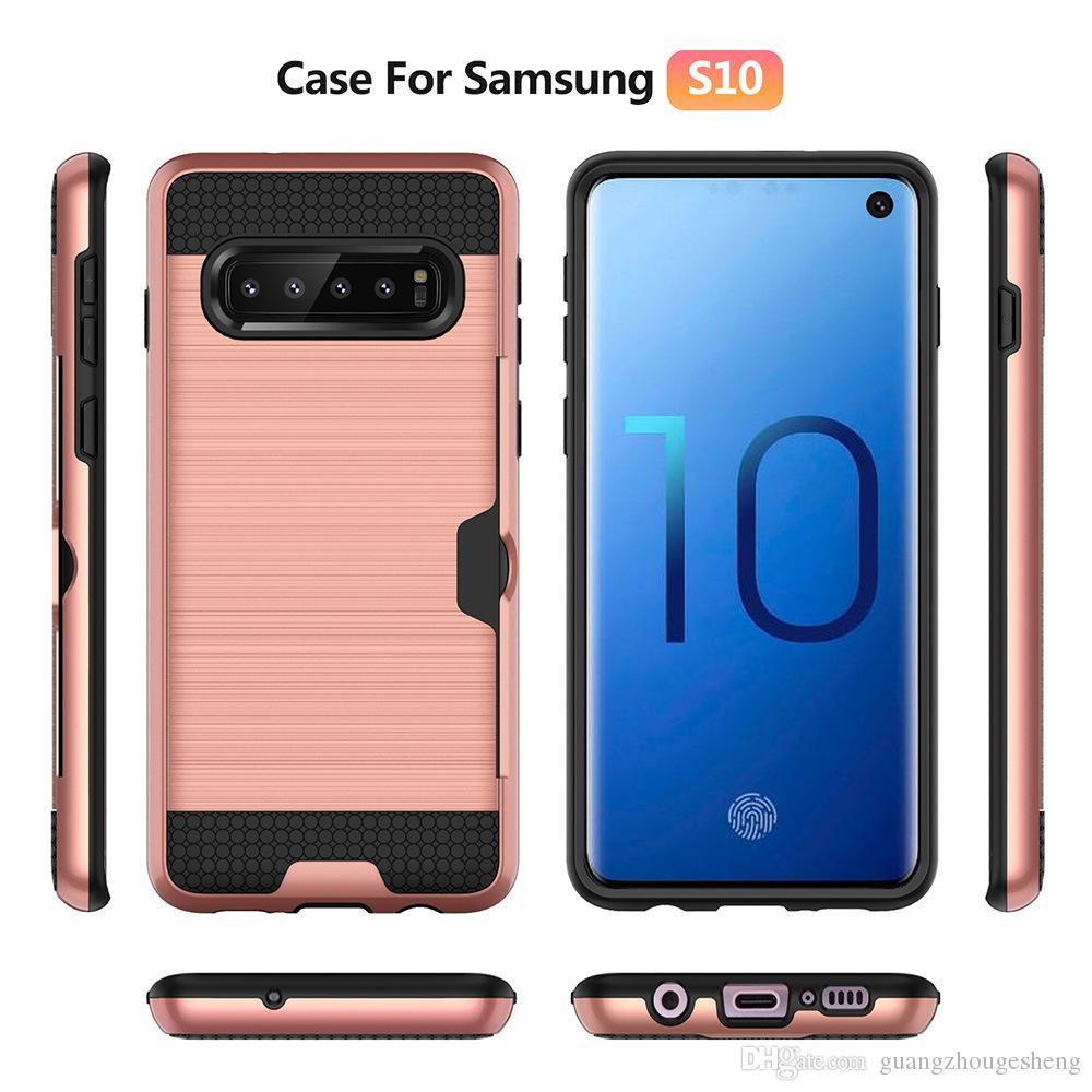 2-en-1 hybride fil dessin titulaire de la carte cas de couverture pour Samsung Galaxy S10 S10e S10 Plus livraison gratuite