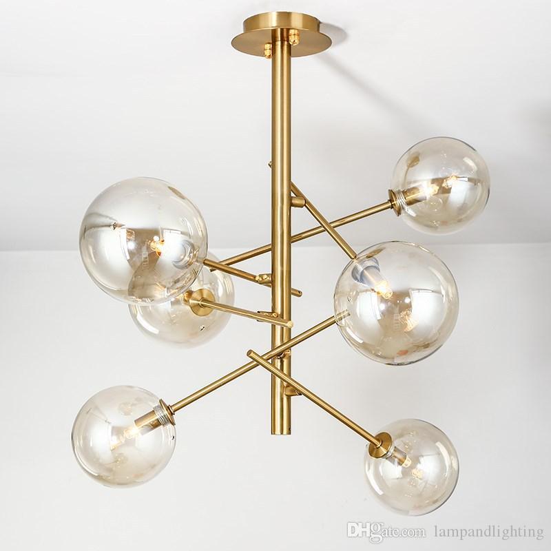 현대 세련 된 6 머리 8 헤드 유리 펜 던 트 조명 bal 중단 된 램프 G4 LED 램프 거실 장식 홈 디자이너 조명