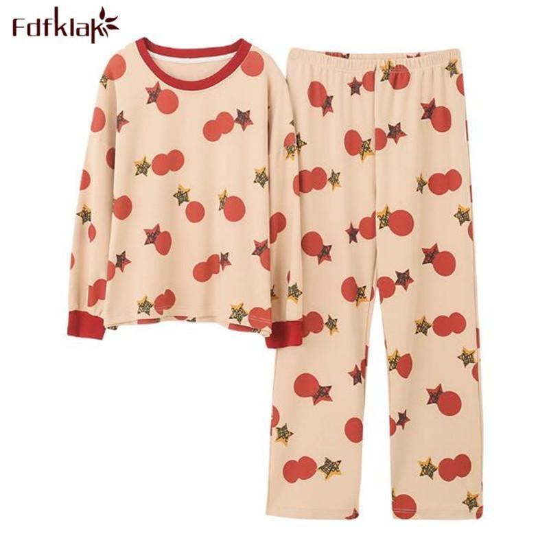 Fdfklak fumetto sveglio delle donne del cotone pigiameria pigiama primavera set Autunno pigiama casuale signore Pigiami vestito di stampa a casa usura