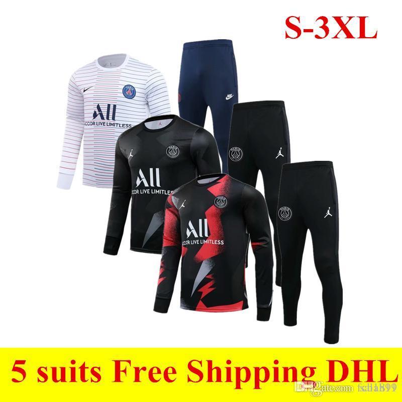 2020 New Paris blanco traje de entrenamiento de fútbol 20 21 PSG fútbol Uniforme ICARDI CAVANI Mbappe pantalón rojo de manga larga libre tracksuits S-3XL