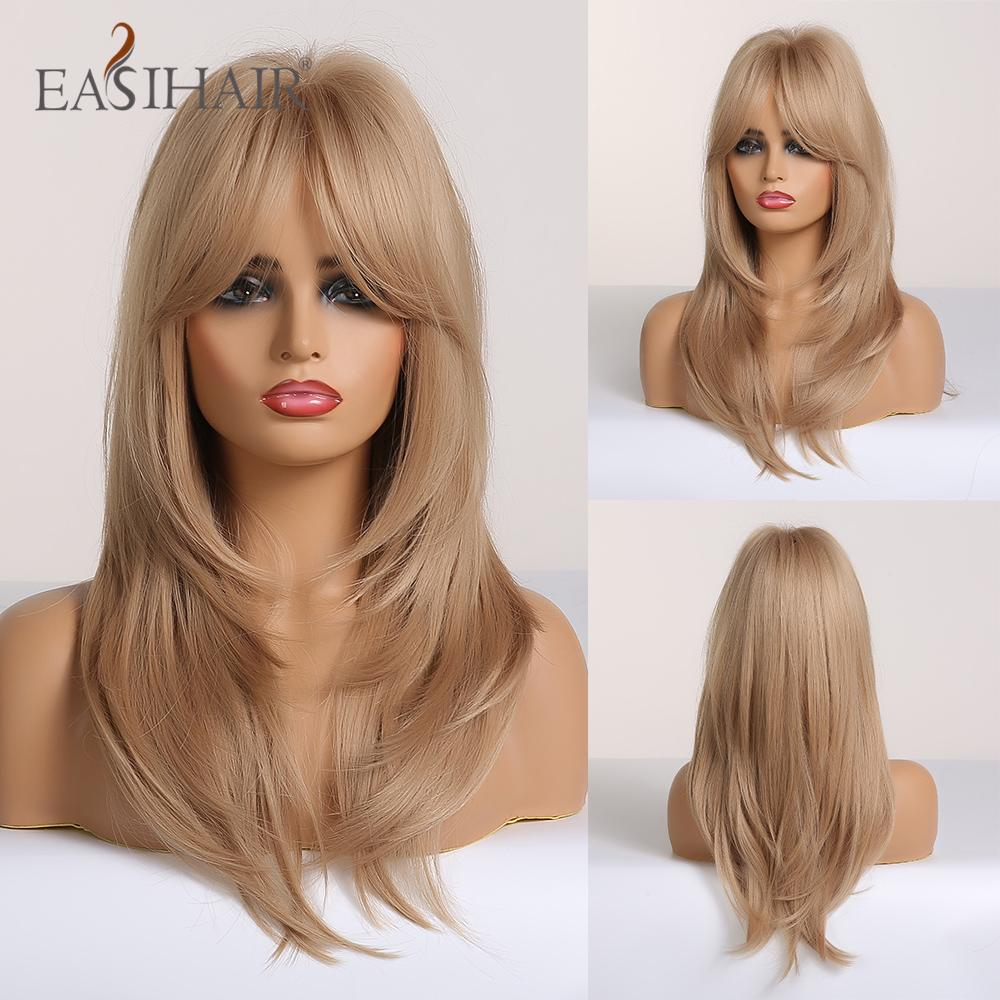 ynthetic None-Lace EASIHAIR Blonde Omber Wigs with Bangs Synthetic Wigs for Women Heat Resistant Medium Length High Temperature Fiber C...