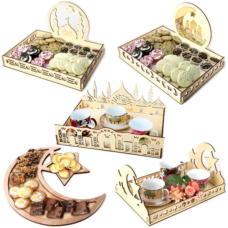 Plaque de bois Ramadan musulman alimentaire Islam Eid Mubarak Dessert Conteneur Ramadan Party Crescent Star Food service Plate