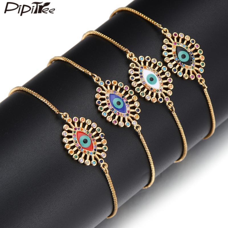 Pipitree Moda Pulseira mal Olho por Mulheres Lady Copper Cubic Zirconia Esmalte Charme Slider Pulseira Hip Hop Jewelry presente