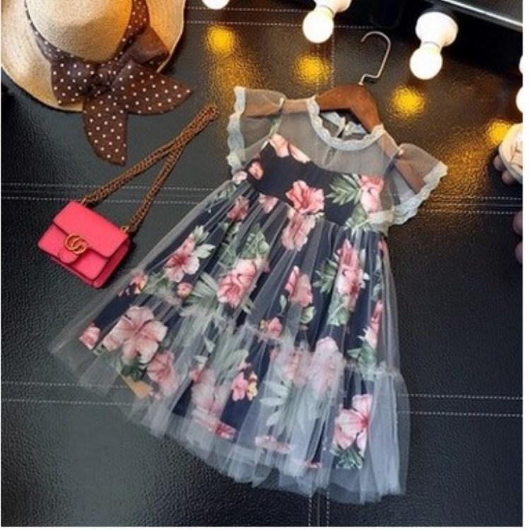Niños chicas diseñadores vestido de encaje floral estampado ropa bebé princesa vestido para la ropa de verano ropa Vestidos QZ01