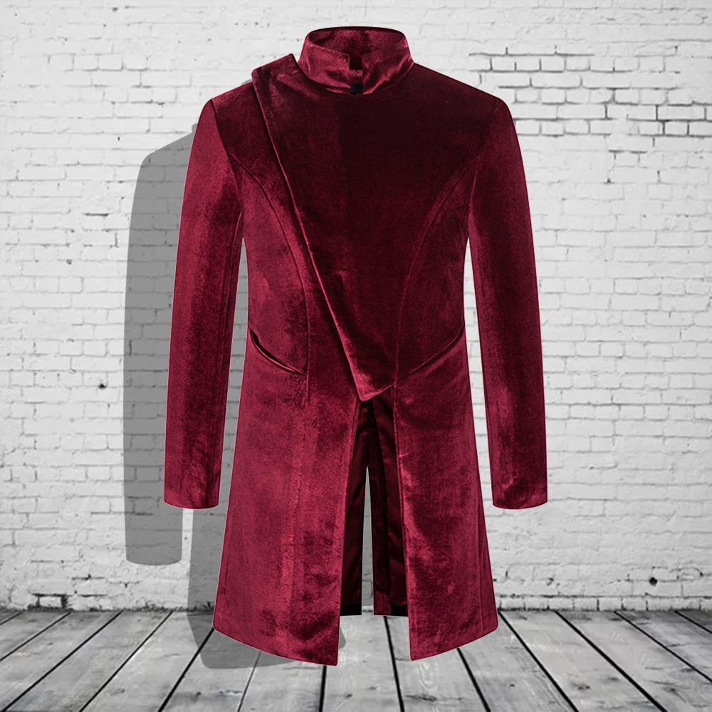 Stehkragen Velvet Long Coat Herren Trench Coat Herren Kostüme beiläufige Knopf Windjacke Warme Männer Performance-Bekleidung