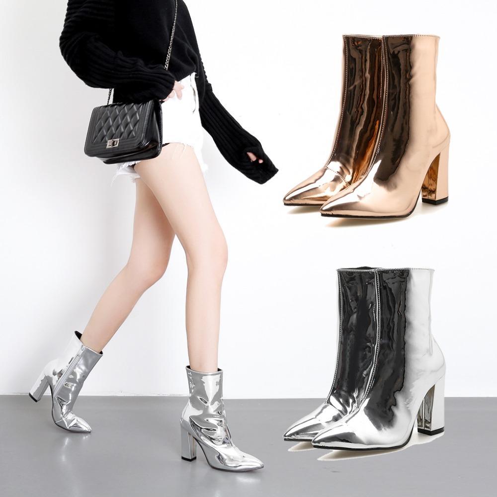 Серебряный черный ботильоны для женщин сапоги на высоких каблуках дамы зимняя обувь женщина золото фиолетовый botas invierno mujer