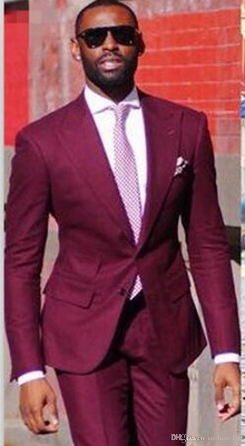 Vino estrenar Mens boda esmoquin pico solapa esmoquin del novio padrinos hombre de la chaqueta de las chaquetas Excelente 2 juegos de una pieza (Jacket + Pants + Tie) 600