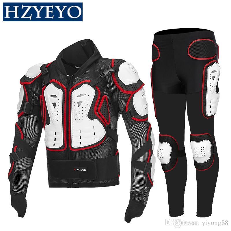 Armadura de motocicleta Ternos Motocross + Engrenagens Long Calças Proteção Motorbike Armadura Correndo Protetor De Tronco, Hzyeyo, D-232