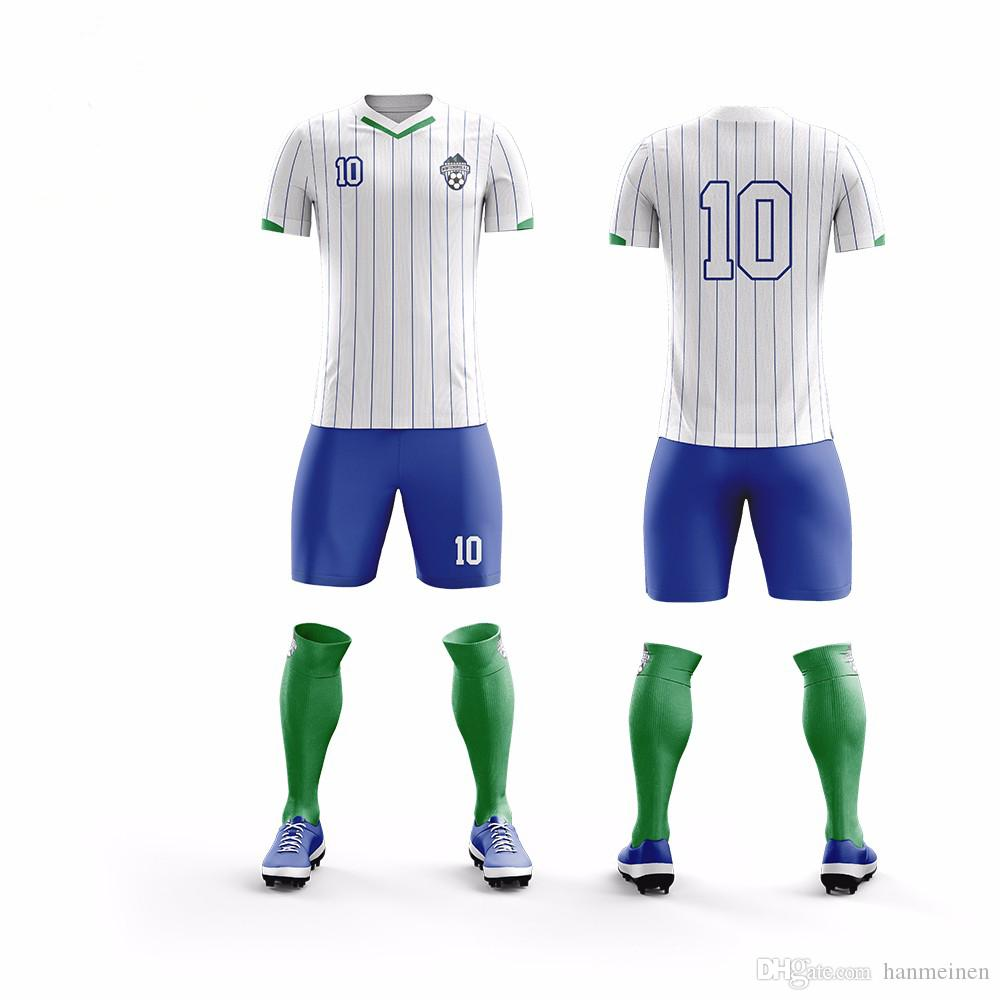 Set da calcio traspirante da uomo maglie da calcio e pantaloncini da uomo uniformi da allenamento per futebol da college personalizzano qualsiasi logo
