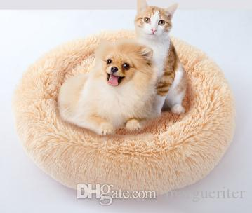 Round Shape Dog Kennel Cat Bed Winter Warm Plush Pet House Candy Color Puppy Teddy Soft Nest