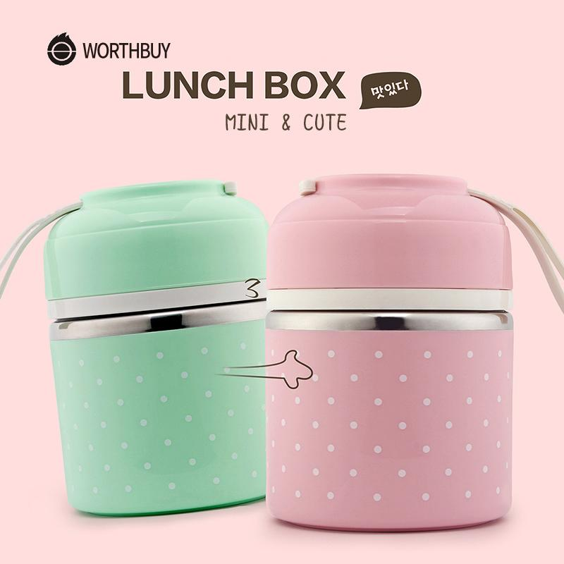 Worthbuy Cute Japanese Thermal Lunch Box Leak-proof Stainless Steel Bento Box Kids Portable Picnic School Food Container Box T8190628