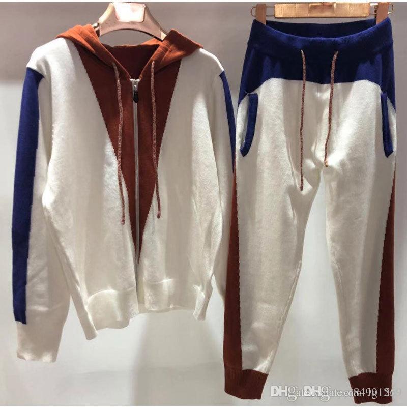 SICAK Fermuar Kadınlar Tasarımcı Eşofman Ter Suits 2020 Yeni Moda Kadın İki Adet Kıyafet Spor Uzun Kollu Katı koşucu Boyutu S-L