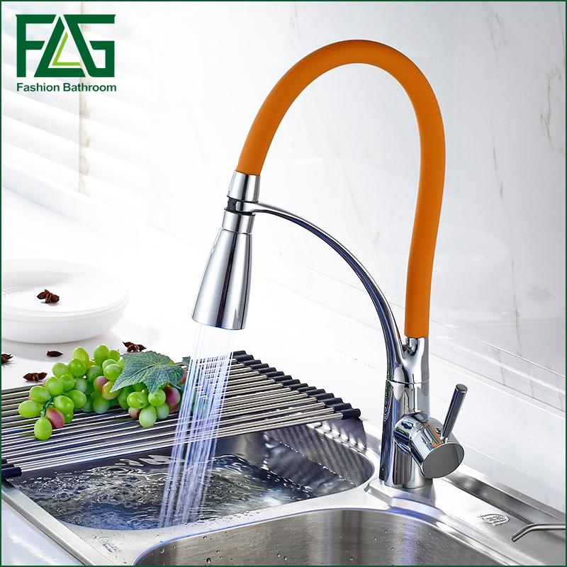 LED Swivel Spout Kitchen Sink Faucet Pull Out Hand Spray One Hole Mixer Tap Kitchen Faucet Griferia Cocina