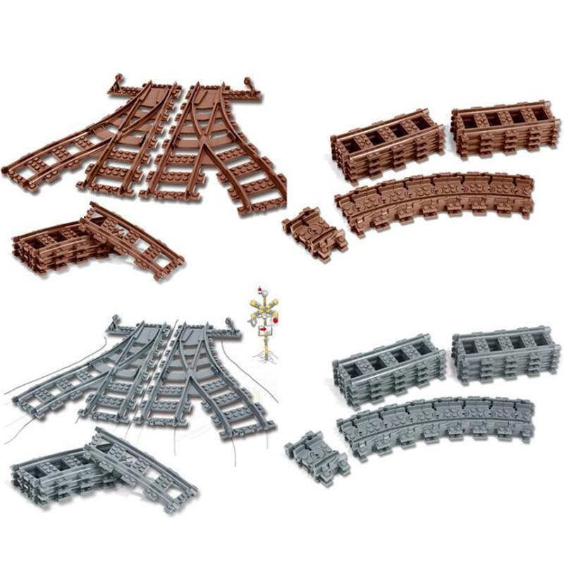 Şehir Trenler Teknik Esnek Parça Demiryolu Düz Kavisli Rayları Yapı Taşları Çocuklar Için Eğitim Tuğla Çocuk Y190606 Set