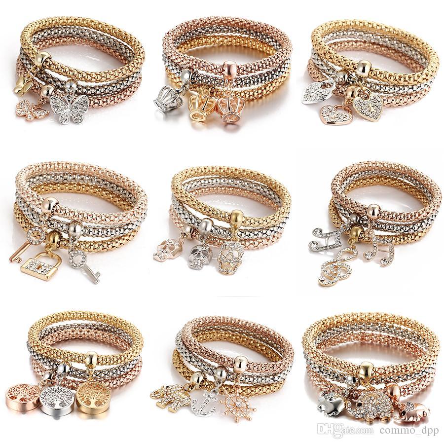 3 colori / set Bracciale Tree of Life donna Crystal Crown Simbolo musicale Elephant Key lock gufo Charm Wrap bracciale per uomo Bulk gioielli