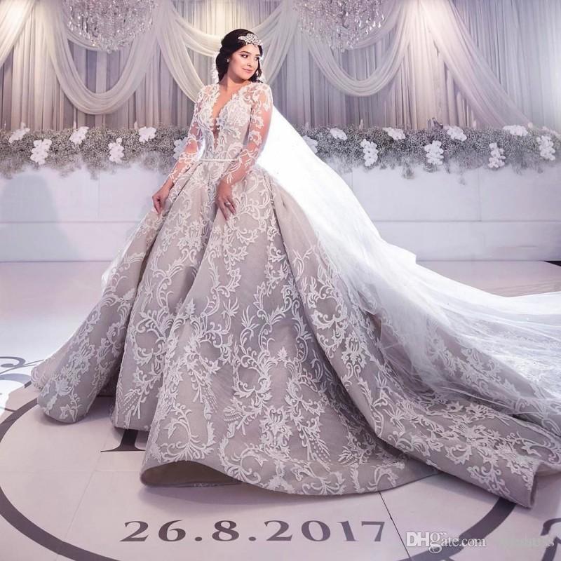 Vestido de casamento vestido de bola vintage vestido de noiva 2020 novo costume feitos em v pescoço catedral vestido nupcial mangas compridas vestidos de casamento mais tamanho