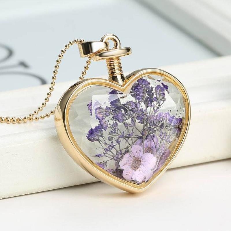 Haufen Anhänger Handmade Boho Getrocknete Blumen-Halsketten-Kugel-Ketten-Silber-Farben-Kristallkugel Geometric Herz Anhänger Halskette für Freundin ...