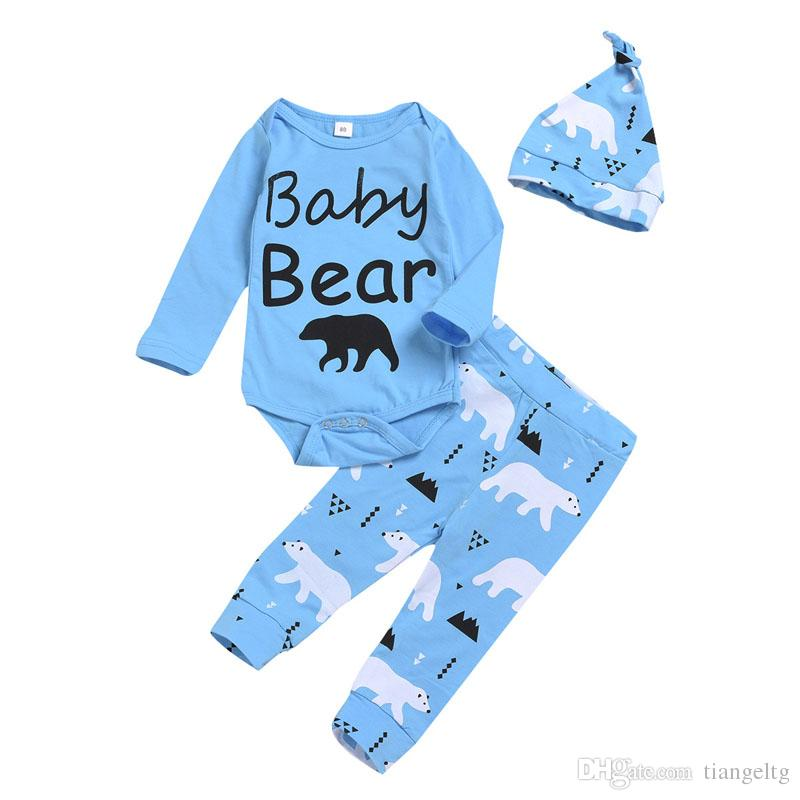 Baby Boys Clothing Set Cotton Cartoon Bear Letter Printed Jumpsuit Covered Button Kid Desinger Clothes Three-Piece Suit Printed Hat 3M-2T 04