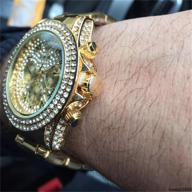 luxwa16888 2020 de lujo de acero inoxidable de alta calidad de los relojes al por mayor de 40 mm embutido del diamante del reloj del dial para mujer para hombre relojes de cuarzo /