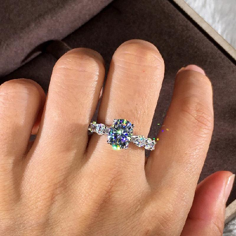 MENGYI Jewelry White Color Inlay Cubic Zirconia Unique Shaped Ring for Women Wedding Engagement Size 6-10