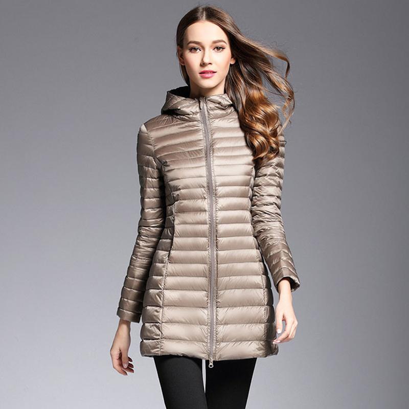 AKITSUMA Длинный пуховик Женский зимний пуховик Ультралегкая куртка стеганое пальто с капюшоном