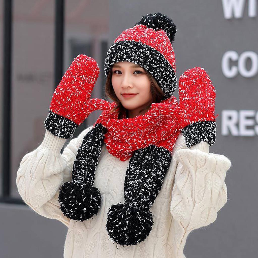 3adet Kadınlar Kış Sıcak Çok renkli Örme Venonat Beanie Hat + Eşarp + Eldiven Set