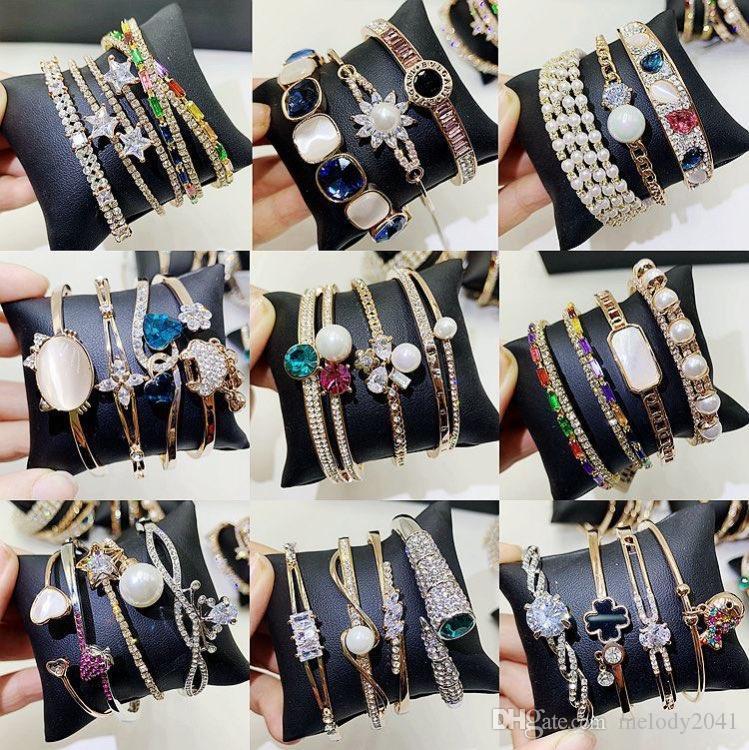 Or et argent plaqué Bracelet flash tchèque strass Zircon Bracelet en métal pour les femmes Perles Fritillaria Bangle alliage