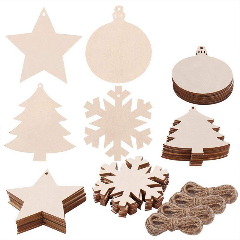 40 Pezzi 4 Stile di legno fette con tondo in legno, Fiocco di neve, Stella, Albero di Natale Ritagli e juta Spago for Kids Crafts Christma