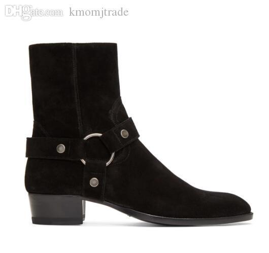 Man Slp Black Suede Wyatt Harness Boots Harness-Stil Knöchelriemen-Silber-Ton-Hardware Kanye West Paris Fashion Stiefel Schuhe