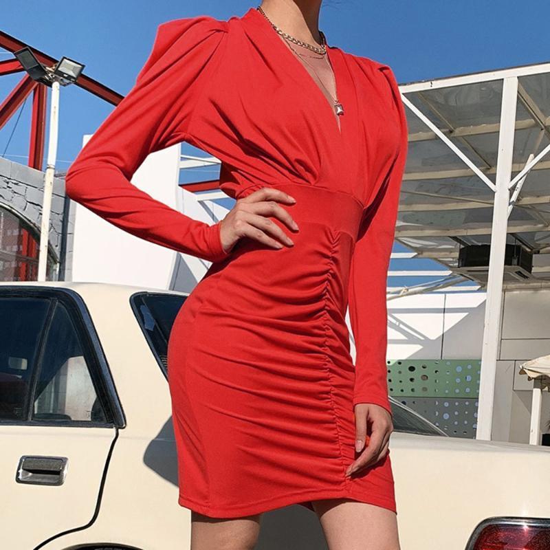 Vestidos de cóctel rojo con cuello en V vestido de cóctel de manga larga de cortocircuito de la envoltura mini colmenas de las mujeres Party Night club de la tarde Vestidos