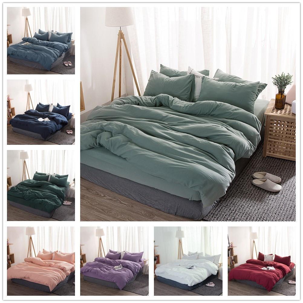 Massivfarbe 4 Stück Bettwäsche Set Mikrofaser Bettwäsche Navy blau graue Bettwäsche Bettwäsche Bettwäsche Bettwäsche