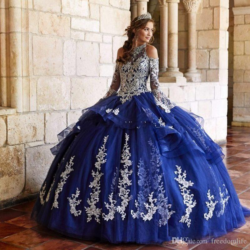 Mode Ballkleid Quinceanera Kleider Spitze Neckholder Perlen Abendkleider Tüll Tiered Long Sleeves Sweet Pageant Dress