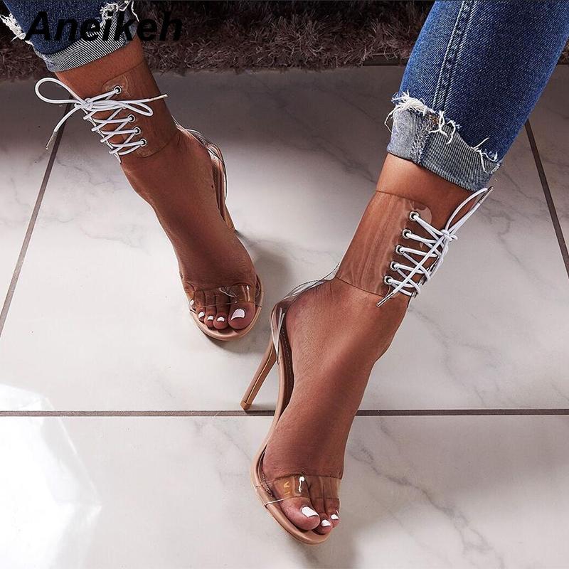 Salto Aneikeh Gladiator Transparente Toe PVC Peep Lace Up alta Sandals Vestidos Sexy para Mulheres senhoras stiletto verão MX200407 Shoe