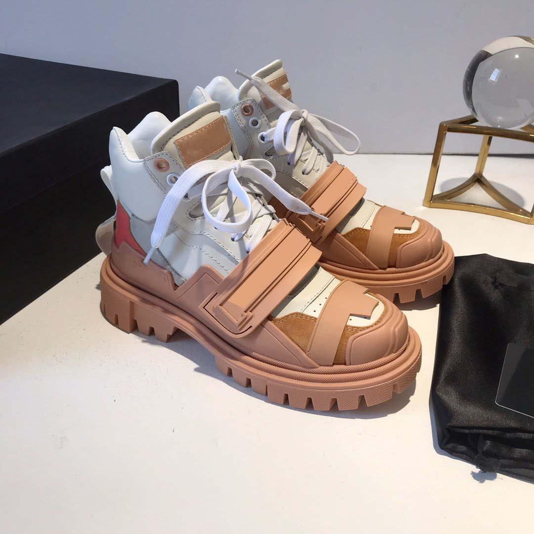 2019 nuovo inverno femminile europeo ed americano di pelle bovina di alta Versione Di spessore inferiore larga Aumento casual Sport Coppia militare Boots Vecchi pattini