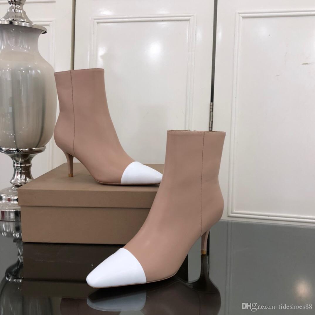 Ücretsiz nakliye Moda kadın paty elbise ayakkabı ücreti yeni stil seksi bayan elbise ayak bileği çizme pembe rugan yüksek topuklu çizmeler
