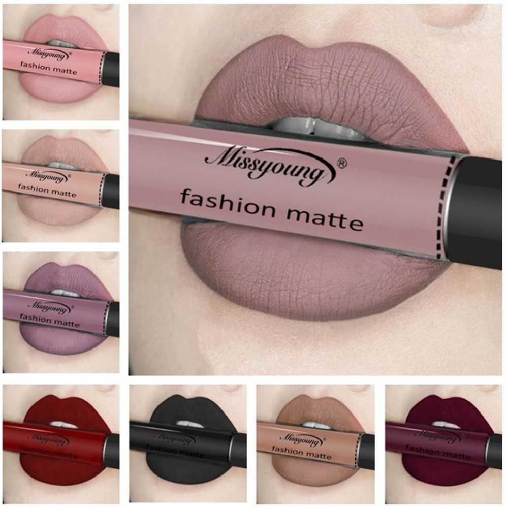 New Makeup Lipstick Waterproof Matte Lipstick Nude Pigment Brown Red Color Liquid Lip Gloss Fashion Matt Lip Tint